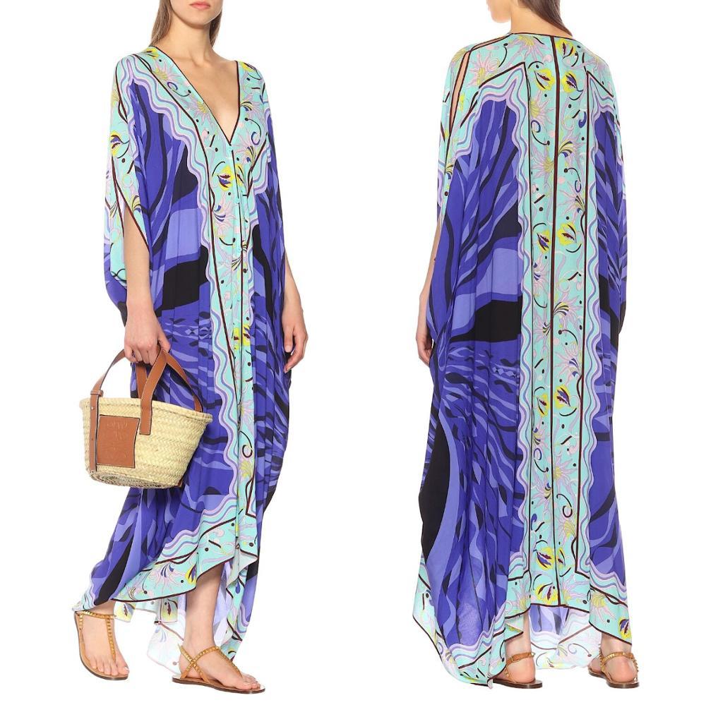 New V-neck printed fashion half sleeve elastic knitting loose casual dress 2
