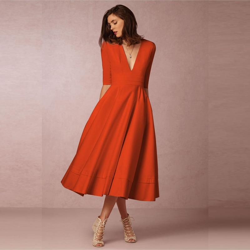 Elegant A-Line V Neck White Maxi Dresses Half Sleeves Simple Sexy Night Club Long Dress Solid Color Female Office Casual Dress 3