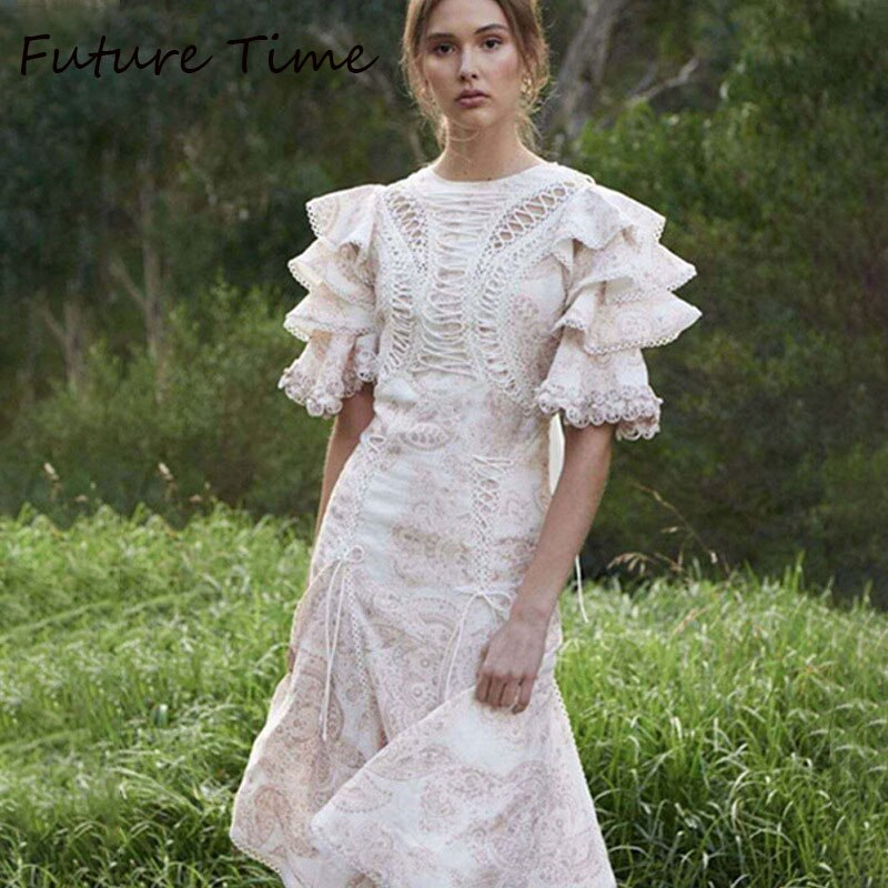 Future Time Autumn Printing White Dress Women 19 Long Beach Dress Bodycon Half Sleeve Round Collar A-Line Sexy Bandage Dress 1