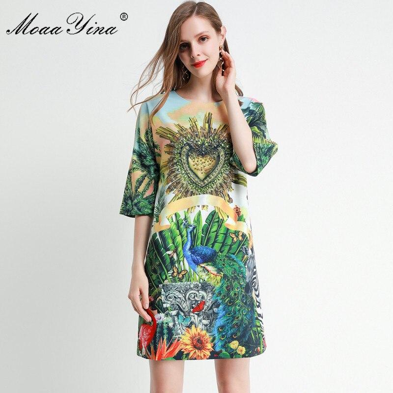 MoaaYina Fashion Designer dress Spring Summer Women's Dress Half sleeve Crystal Beading Loose Elegant Runway Dresses