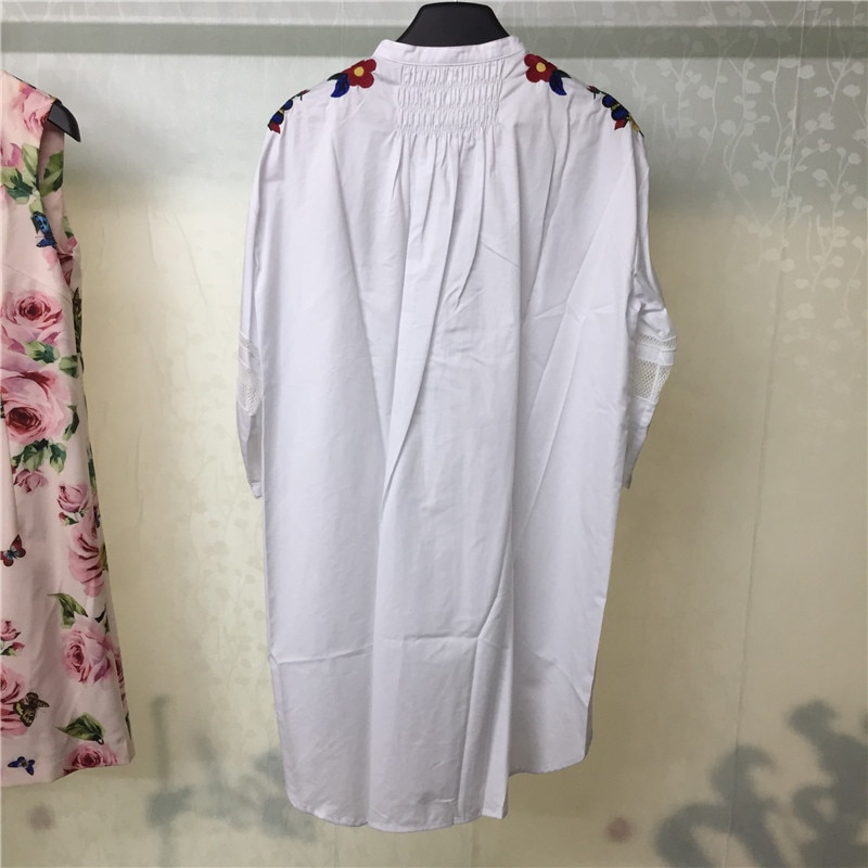 Women's Dresses 18 Half Sleeve Embroidery Dress Casual Loose White Blouse Dress Women 3