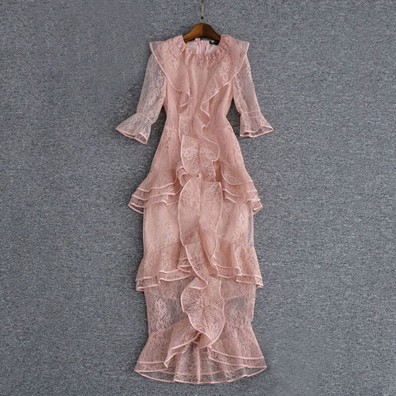 pink maxi lace dress o-neck ruffles half sleeve mulit-layer Fish tail dress ladies party dress fast shipping 2