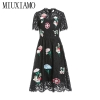 MIUXIMAO 19 New Fashion Runway Summer Dress Women's Retro Half Sleeve Flower Diamonds Embroidery Lace Vintage Dress vestidos