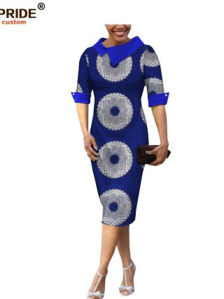 18 summer&autumn casual women pencil dress african wax print AFRIPRIDE tailor made half sleeve mid-calf length dress A1825055
