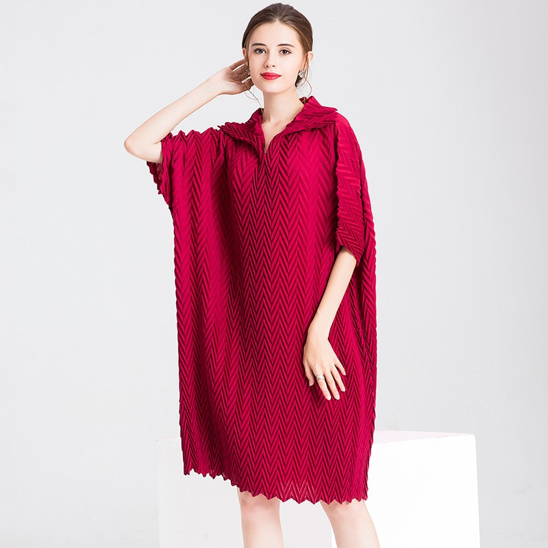 Women Crinkled Office Lady Straight Solid Half Length Sleeves Knee-length Pleated Dress 1