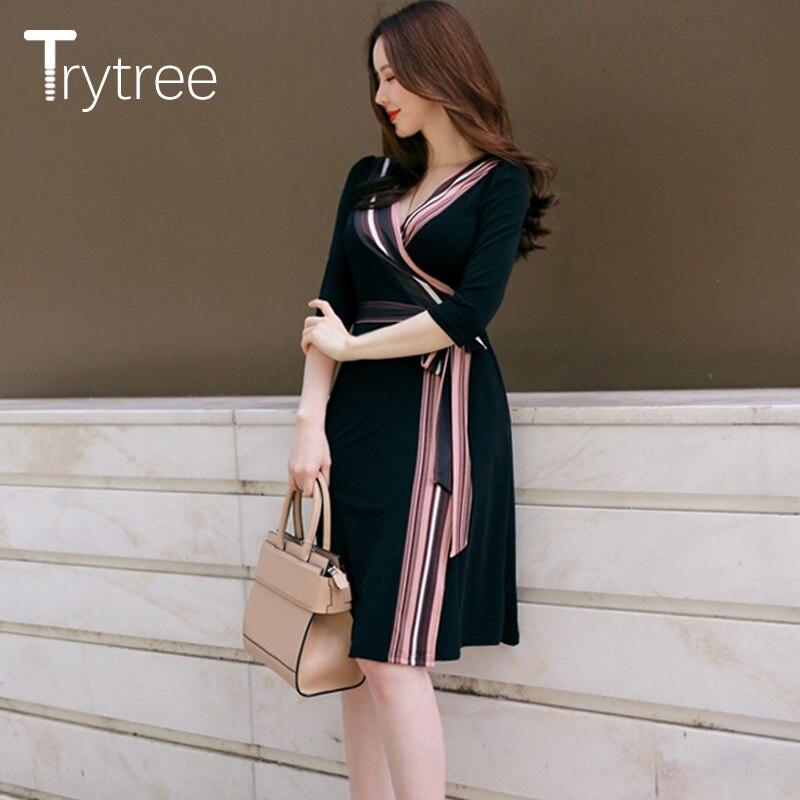 Trytree Summer Autumn Dress Women Casual 18 shirt Polyester Black A-Line Half Sleeve Dresses Black Chiffon dress kyliejenner 3