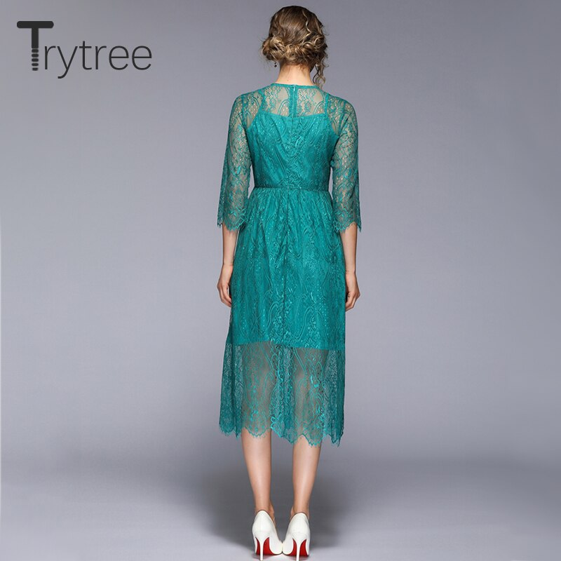 Trytree 19 Summer Autumn Casual Lace Dress Geometric embroidery women Half sleeve dresses Knee-Length A-line Office Lady Dress 3