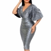Hot Sell Summer Women Office Dress Lady Rilling Flare Sleevees Deep V-Neck Party Sexy Elastic Pencil Dresses Festa De Vestidos