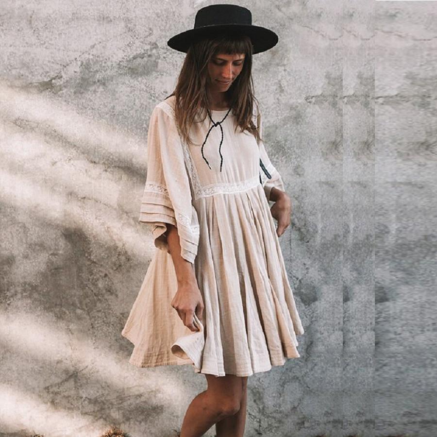 TEELYNN cotton & linen tunic mini dresses boho solid dress o-neck loose short summer dresses beach Gypsy dress women vestidos 2