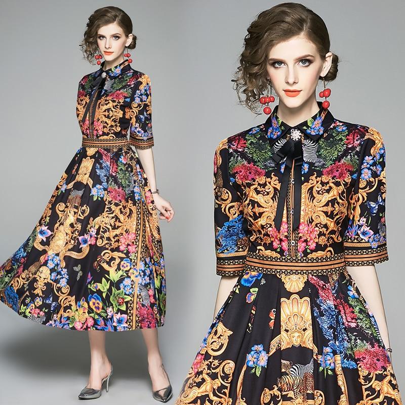 19 Summer Elegant Half Sleeve Dress Women Floral Print Runway Long Dress Fashions Button Diamonds Vintage Midi Dress B9119 3