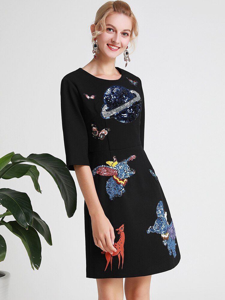 Lady Milan Women's Runway Dresses O Neck Half Sleeves Embroidery Cartoons Sequined Fashion Casual Autumn Short Dresses 3