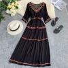 19 new fashion women's dresses Bohemian ethnic embroidery flower V-neck half sleeve tie dress summer
