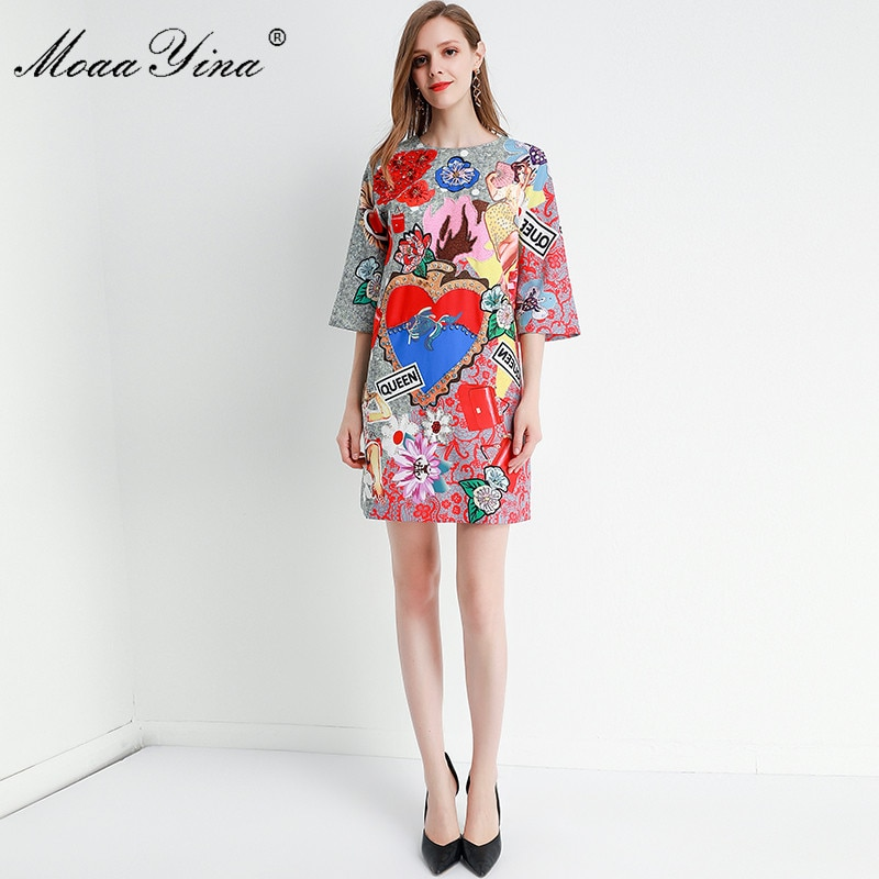 MoaaYina Fashion Designer dress Spring Summer Women's Dress Half sleeve Crystal Beading Floral-Print Dresses 2