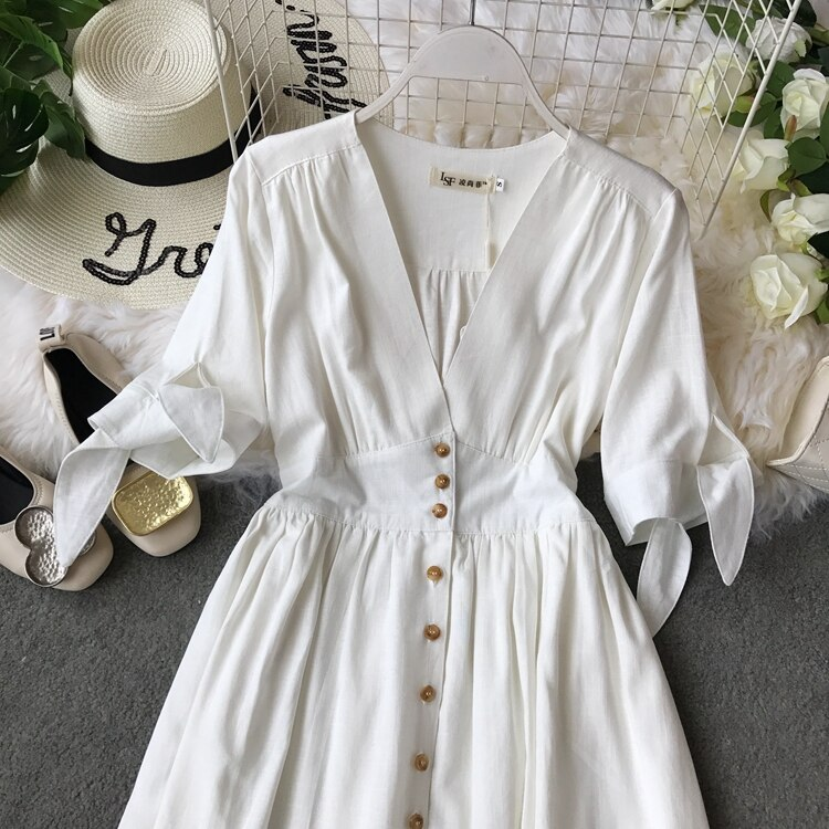 19 new fashion women's dresses Vintage half sleeve length summer dress white linen V-neck holiday 2