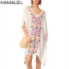 Bohemia Holiday Beach Dress 18 Embroidery Flower White Ball Tassel Cotton And Linen Half Sleeve Loose Asymmetrical Dress