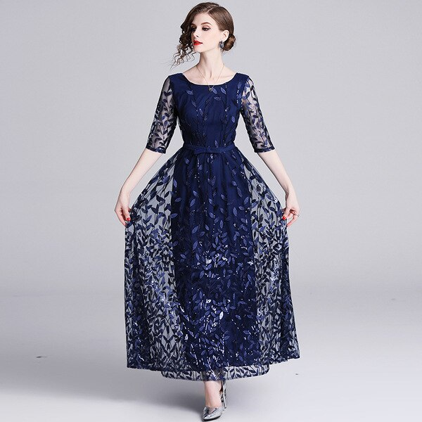 Embroidery Mesh Half Sleeve Long Maxi Dress Women  Spring Summer Prom Evening Party Special Occasion Wear Dresses Female 1