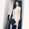Women Beadings Split Sexy Bodycon Tweed Wool Dress O Neck Casual Work Office Half Sleeve Party Midi Dress Vestido 8404