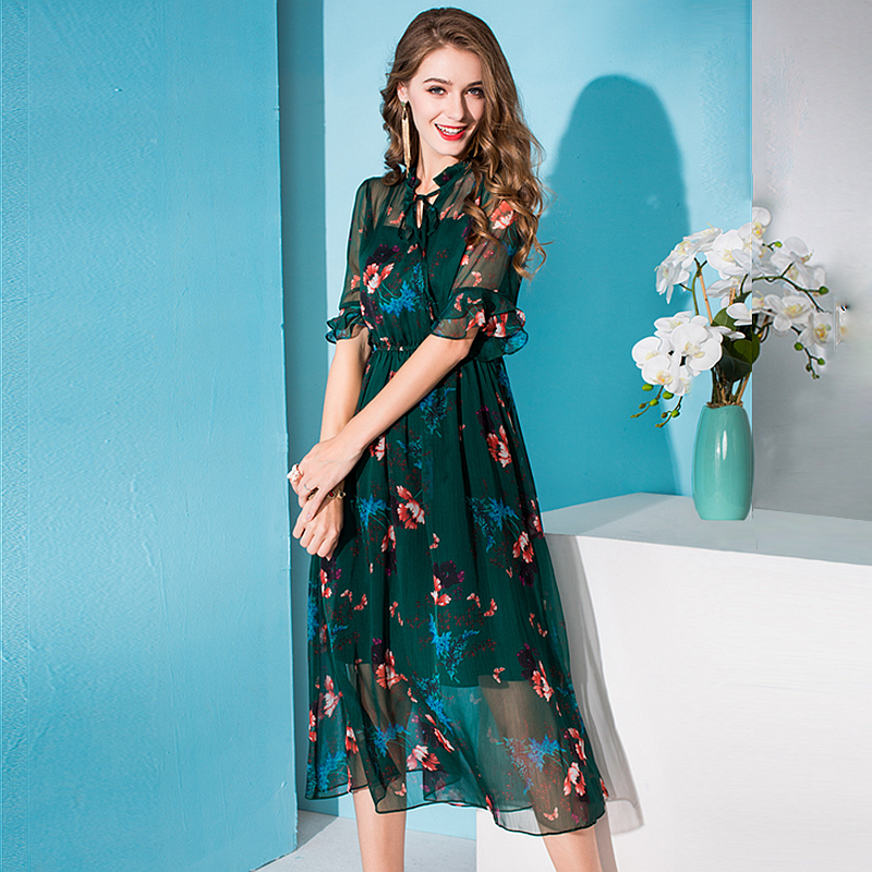 100% Silk Dress Women Printed Tie O Neck A-line Half Flare Sleeves Elastic Waist Long Dress New Fashion Spring 19 1