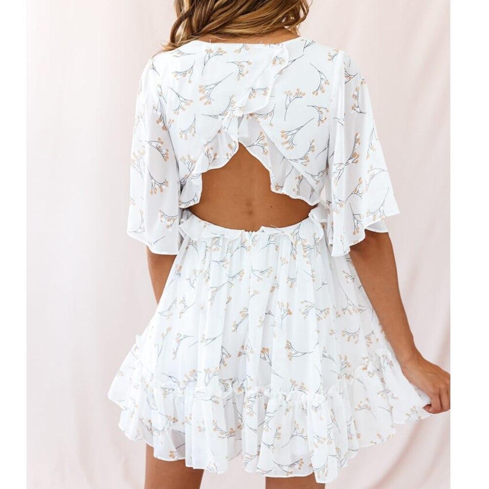 Tosheiny 19 Women Summer V Neck Half Sleeve Floral Print Dresses Female Backless Mini Elegant Dress DM06 2