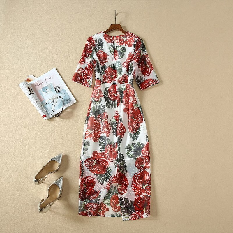 Spring summer runways floral print half sleeves dress high quality women's elegant dress B9 3
