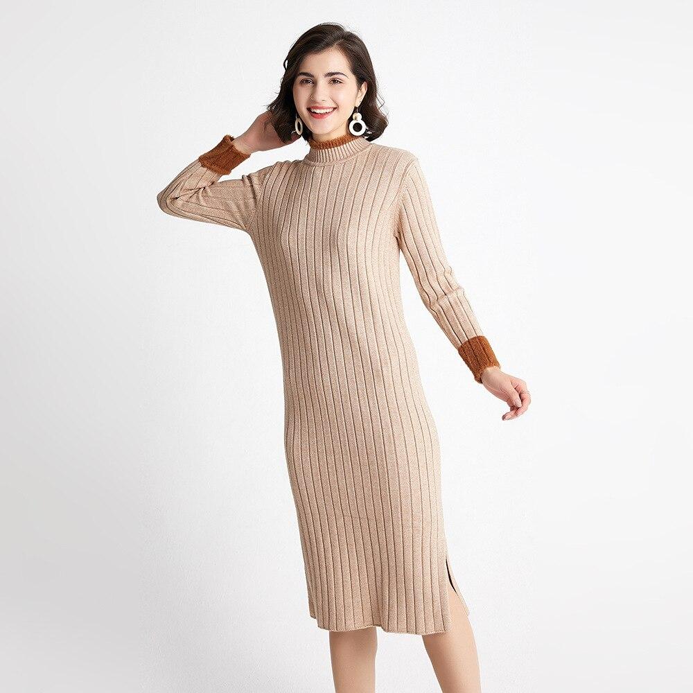 Autumn Winter Sweater Women Knitted Dresses Elegant Lady Half Turtleneck Long Sleeve Elastic Sweater Dress Female Slim Dress 3