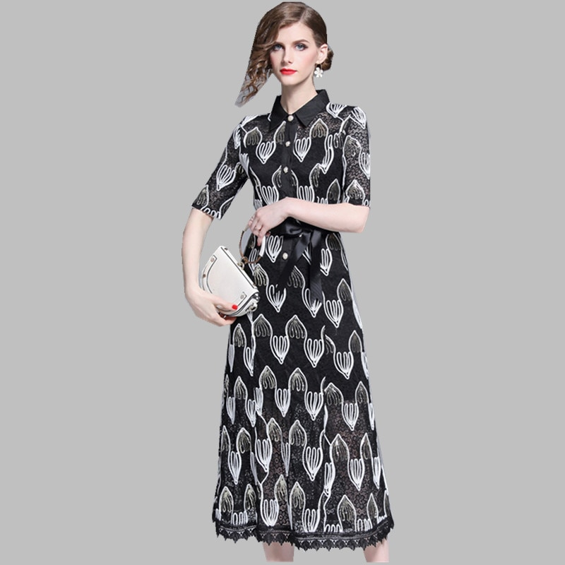 HAMALIEL Women Lace Midi Dress Luxury Summer Half Sleeve Patchwork Hollow Out Floral Dress Vintage Sequine Embroidery Long Dress 1