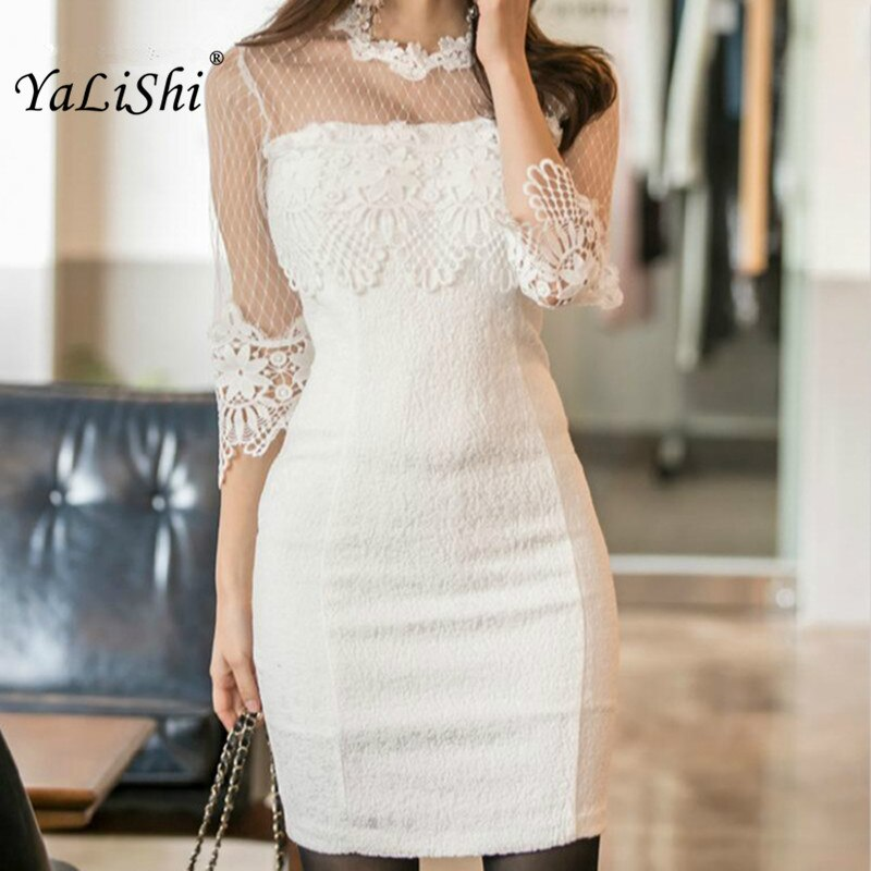18 Summer Solid Pencil Dress Women White Half Sleeve O-neck Lace Lady Dress Elegant Office Vintage Mini Dresses Ladies Vestido 1