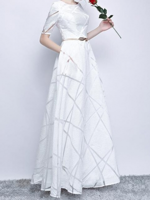 Spring High Quality Stylish Dress Half Sleeve Round Elegant Dress Ball Gown Long Party Dress