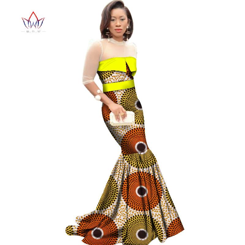 African Dresses for Women Dashiki African Print Clothing Half Sleeve Mermaid Dress Maxi Dress BRW Plus Size 6XL WY2318 2