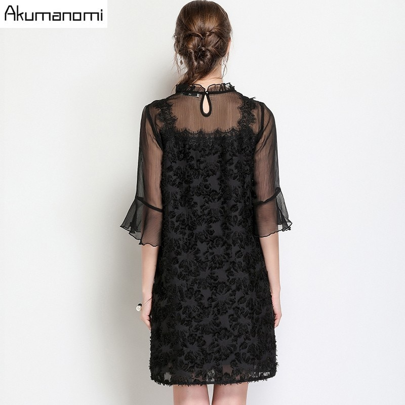 summer Voile Dress women clothing black Ruffled flare half Sleeve mini dress High Quality Plus Size 5XL 4XL 3XL 2XL XL L M 3