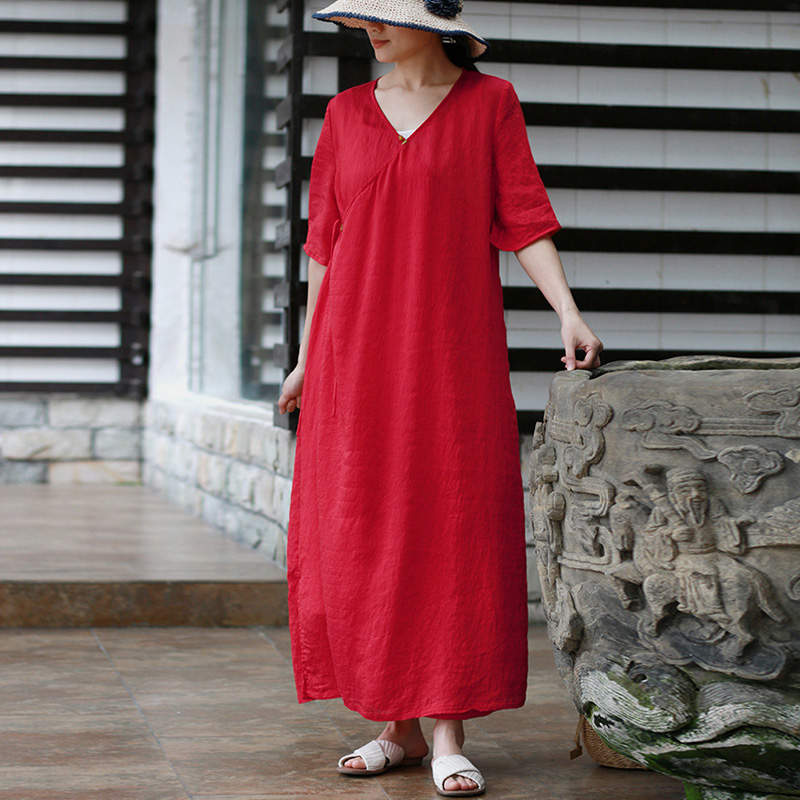 New Fashion Style Casual V-neck Solid Women Dress Summer Loose Embroidery Half Sleeve Long Female Dress 3