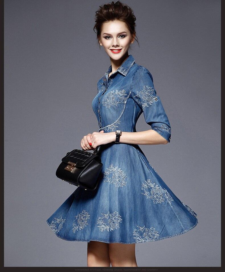 European Womens Jeans Dress Spring Summer Embroidered flowers Mini Denim Half Sleeve Dresses Vestido Femininos 3