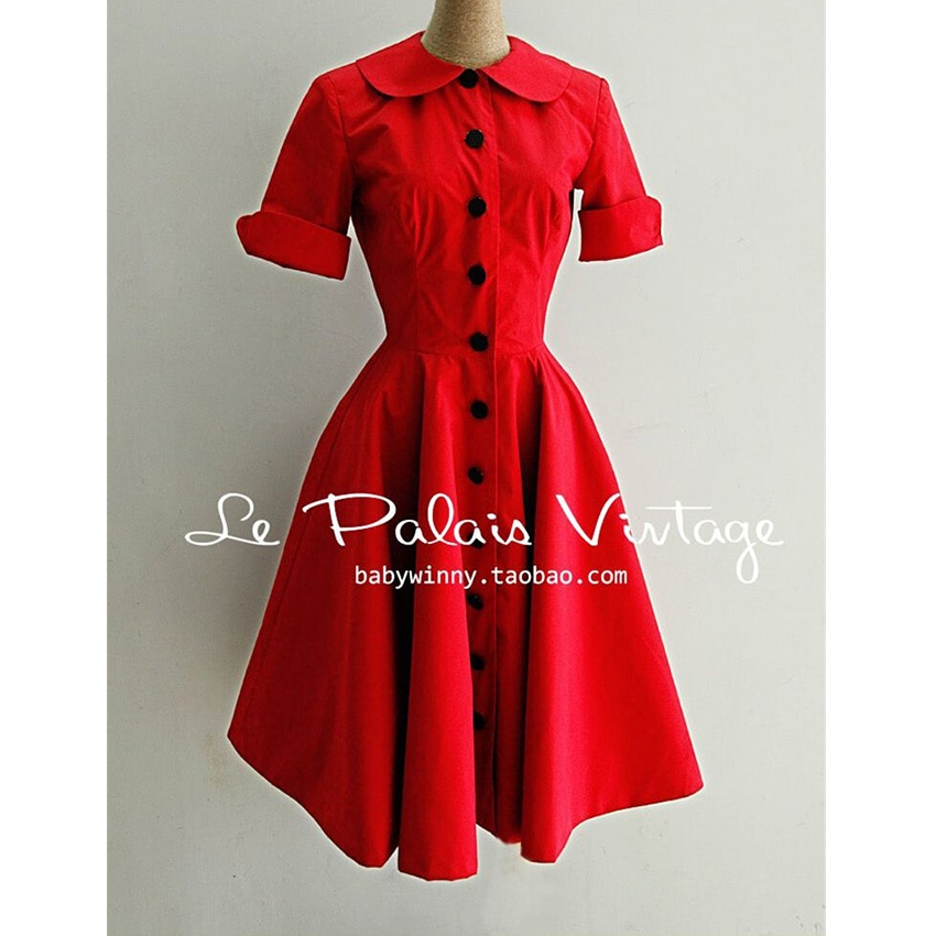 FREE SHIPPING Le palais vintage elegant red classic peter pan collar half sleeve one-piece dress 2