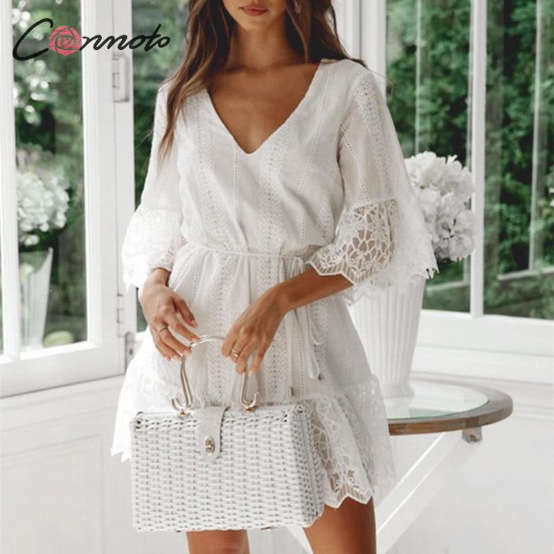 Conmoto Embroidery Lace White Party Dress Women Mesh Mini Female Half Sleeve Dress Sexy Femme Robe Dresses Vestidos