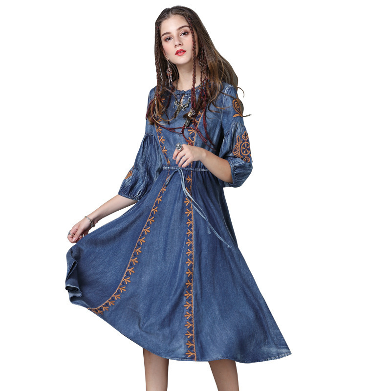 #2412 Autumn Embroidery Round Neck Denim Dresses Women Fashion Vintage Tie Waist Half Lantern Sleeve Washed Jeans Dress Tide 2