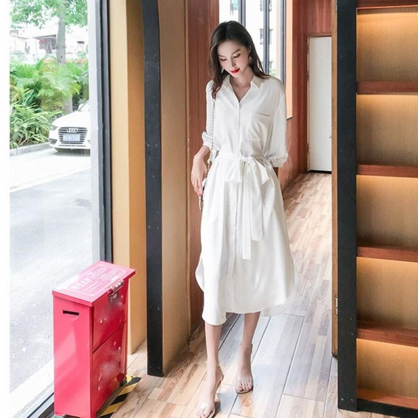 19 Fall Women Solid Turn-Down Collar Shirts Dresses A-Line Casual Pocket With Belt Loose Dress Half Sleeve Midi Dress