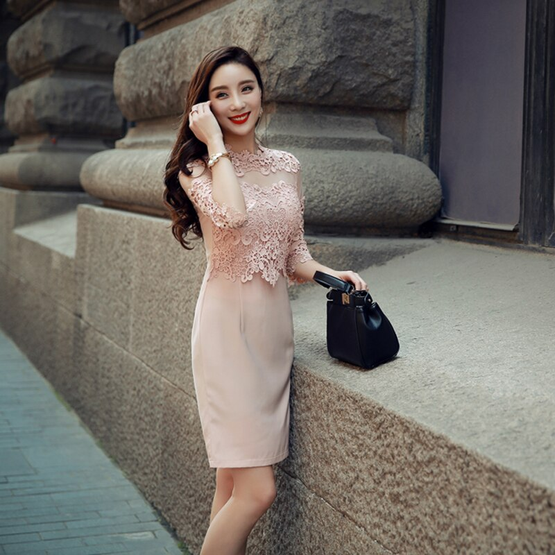 Sexy Hollow-out Lace Mini Dress O-neck Elegant Slim Women Dress Half Sleeve High Waist Office Ladies Dress vestidos 18 2