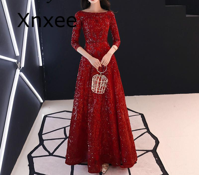 Xnxee Full Sequins Shining O-neck Half Sleeve Formal Dresses Women Vintage Wine Red Long Party Vestido de novia 1