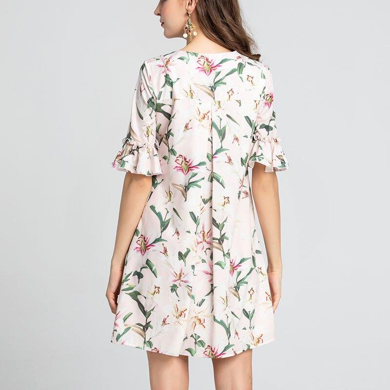 by Megyn 19 runway fashion women loose floral print half sleeve O-neck summer dress good quality 2XL plus size платье летнее 2