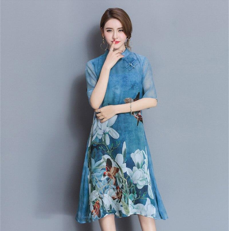 AYUNSUE Vintage Qipao Floral Dress Stand Collar Women Spring Summer Half Sleeve Slim Chiffon Dresses Vestidos Plus Size WXF596 3