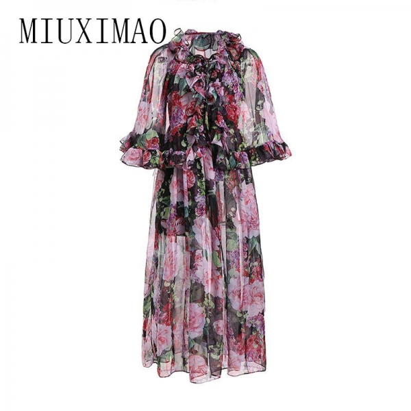 High Quality 19 Spring Newest maxi dress Bohemian A-Line Half Sleeve Slash Neck Printed Floral Ankle-Length Long Dress Women