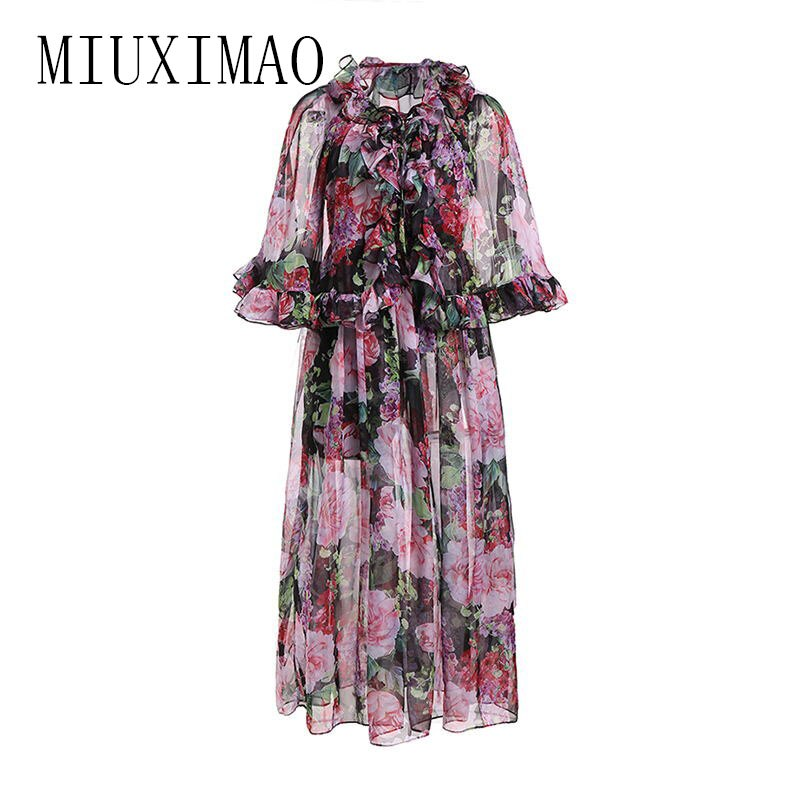 High Quality 19 Spring Newest maxi dress Bohemian A-Line Half Sleeve Slash Neck Printed Floral Ankle-Length Long Dress Women