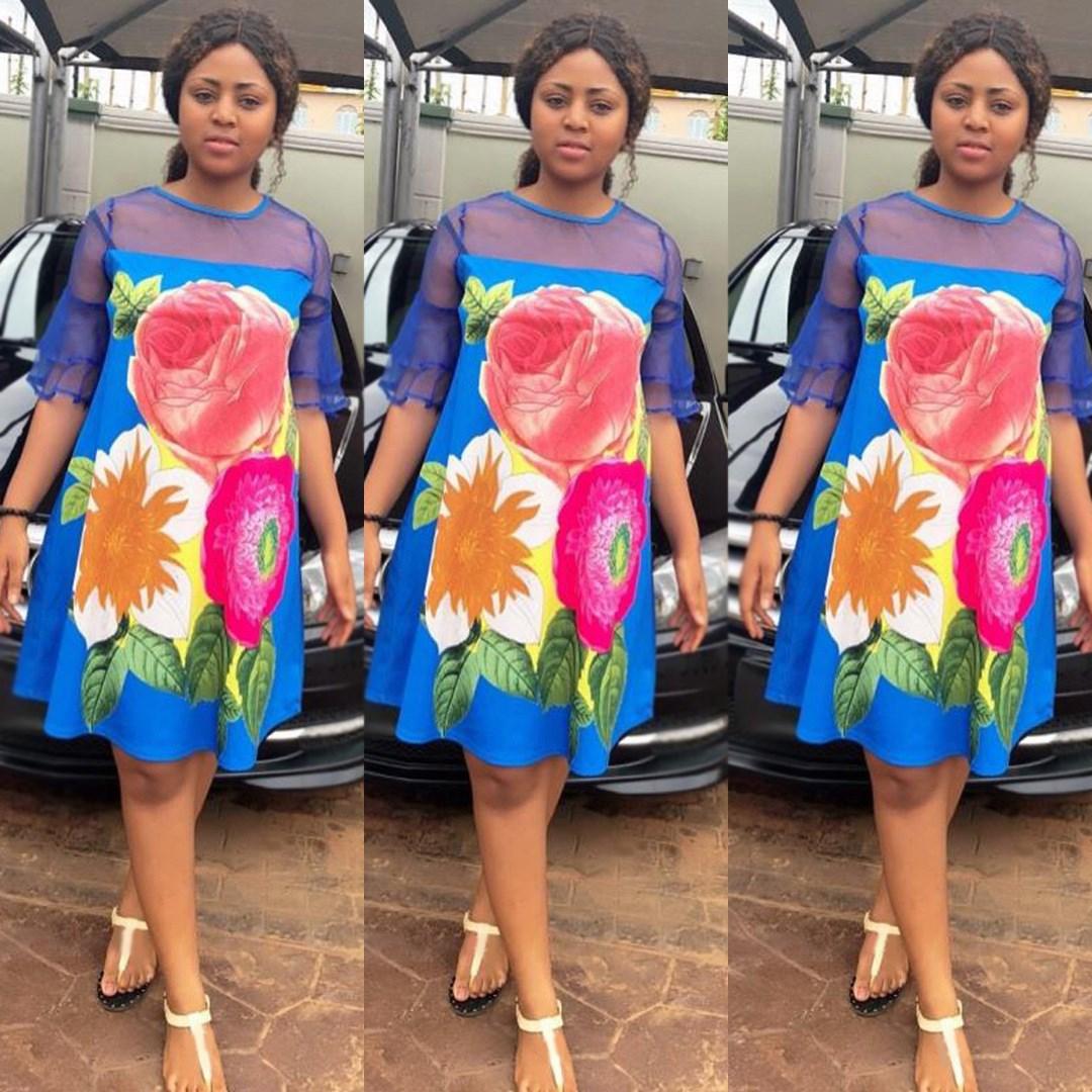 Elegant Women Patchwork Mesh Dress Casual Floral Print Dress Loose Half Sleeve Mini A-Line Dress 1