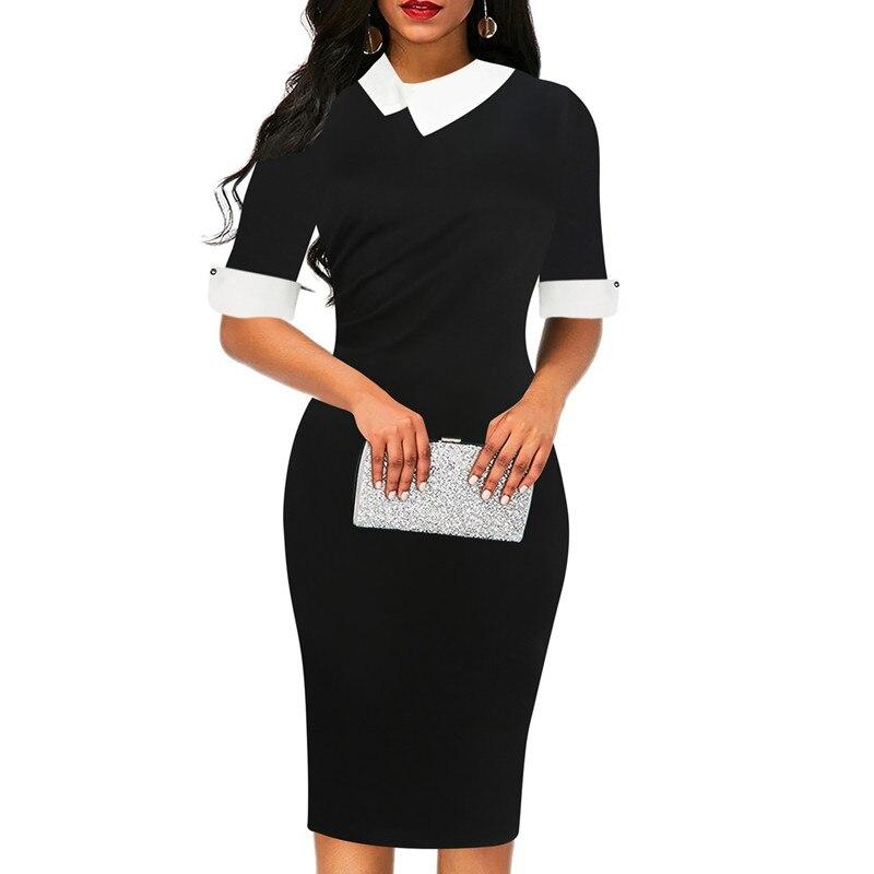 Fmasuth Red Dresses for Women Half Sleeve Knee Length Office Business Elegant Office Clothing Dress ox276 3