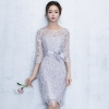 Lace Party Dresses New Sheath Column Jewel Knee-length Formal Dress Half Sleeves Cocktail Date Dress Elegant Vestidos