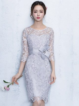 Lace Party Dresses New Sheath Column Jewel Knee-length Formal Dress Half Sleeves Cocktail Date Dress Elegant Vestidos