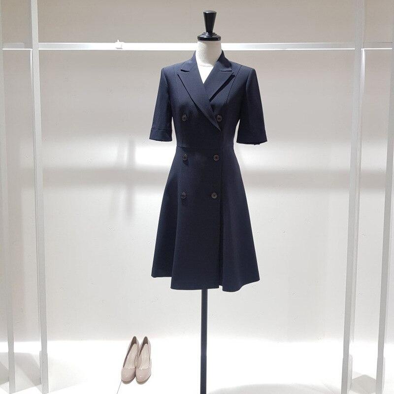 Half sleeve Women Dress Plaid Office Lady Knee-length Pleated Dresses Woman Fashion Elegant Double Breaste women's Clothing 3