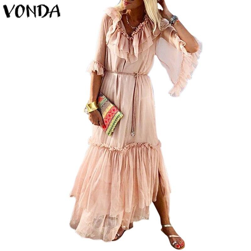VONDA Solid Color Long Dress 19 Sexy V Neck Half Sleeve Vintage Dresses Beach Sundress Holiday Bohemian Vestidos Party Robe 3