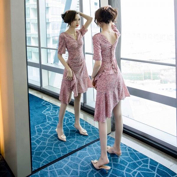 Summer 19 Half Sleeve Sheath Ruffles Ladies Dresses Pink Vestido Mujer Sexy Dress Women Plus Size Print Leopard Women Dress