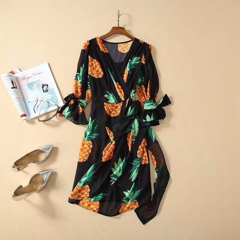 SEQINYY Chiffon Dress  Summer Spring New Fashion Design Women Half Sleeve Pineapple Printed Mini Dress Black 3
